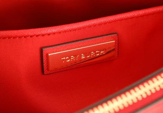 Tory Burch Leather Nylon Gold Hardware Tote in Red Image 9