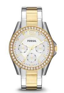 Fossil RILEY MULTIFUNCTION TWO-TONE STAINLESS STEEL WATCH Fossil RILEY MULTIFUNCTION TWO-TONE STAINLESS STEEL WATCH