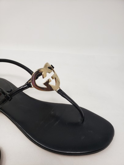 Gucci Crystal Gg Guccissima Gold Hardware Heart Black Sandals Image 1