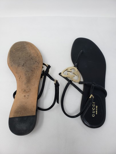 Gucci Crystal Gg Guccissima Gold Hardware Heart Black Sandals Image 10