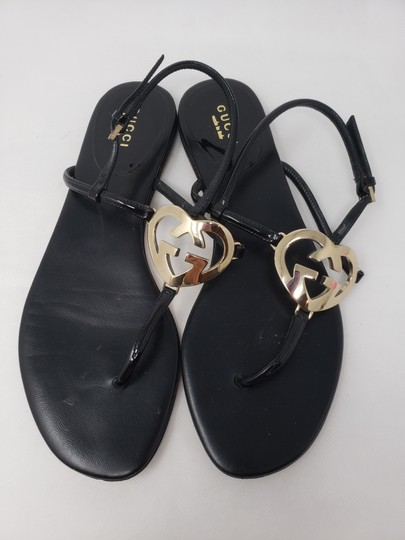 Gucci Crystal Gg Guccissima Gold Hardware Heart Black Sandals Image 3