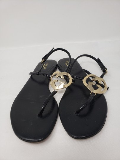 Gucci Crystal Gg Guccissima Gold Hardware Heart Black Sandals Image 4