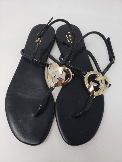 Gucci Crystal Gg Guccissima Gold Hardware Heart Black Sandals Image 5