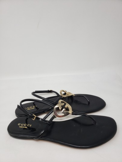 Gucci Crystal Gg Guccissima Gold Hardware Heart Black Sandals Image 7