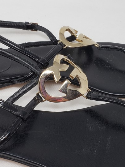Gucci Crystal Gg Guccissima Gold Hardware Heart Black Sandals Image 8