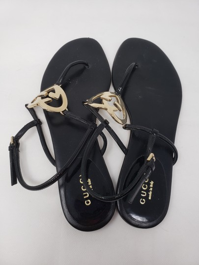 Gucci Crystal Gg Guccissima Gold Hardware Heart Black Sandals Image 9