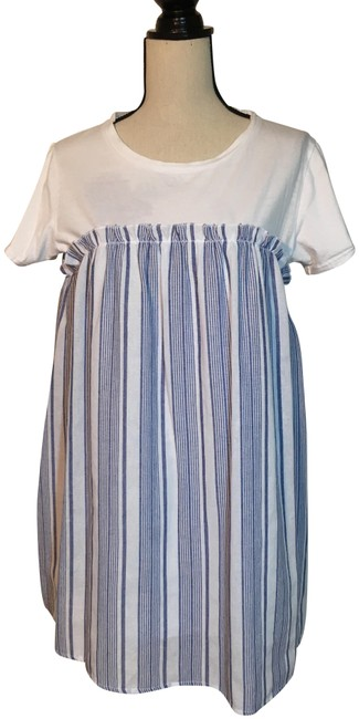 Item - Blue and White Stripe Babydoll Short Casual Dress Size 14 (L)