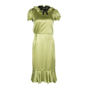 Green Maxi Dress by Dolce&Gabbana Satin Ruffle Detail Midi Silk