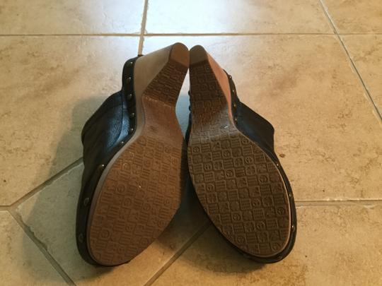 Lucky Brand Leather Studded Wood Heel Black Mules Image 1