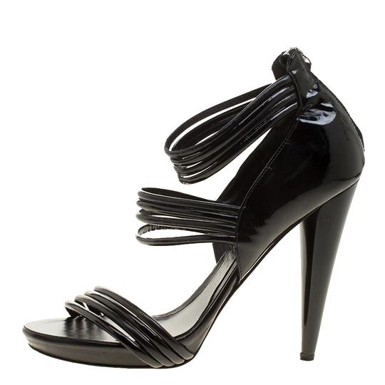 Alexander McQueen Leather Striped Patent Leather Black Sandals Image 1