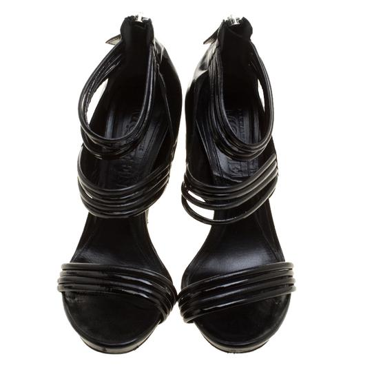 Alexander McQueen Leather Striped Patent Leather Black Sandals Image 2