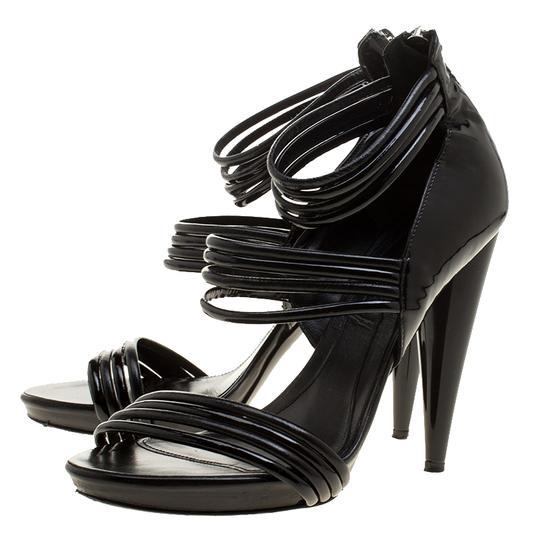 Alexander McQueen Leather Striped Patent Leather Black Sandals Image 3