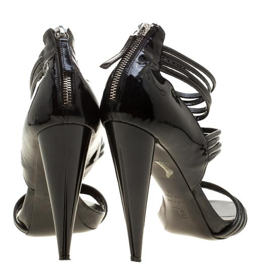 Alexander McQueen Leather Striped Patent Leather Black Sandals Image 4