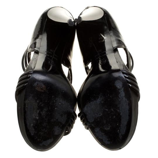 Alexander McQueen Leather Striped Patent Leather Black Sandals Image 5