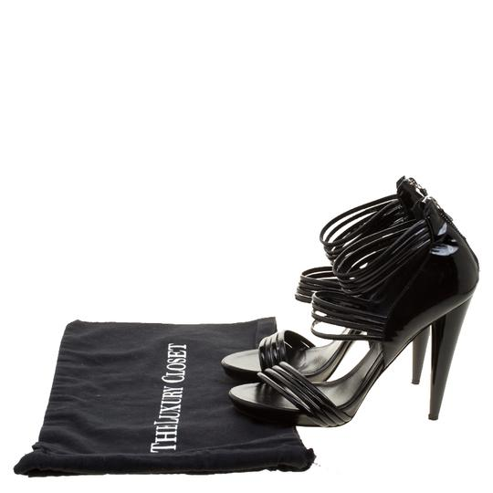 Alexander McQueen Leather Striped Patent Leather Black Sandals Image 7