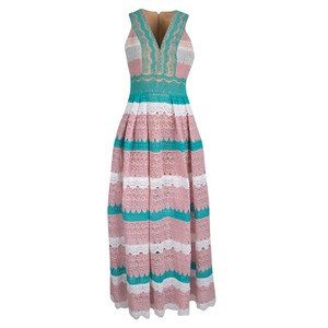 Multicolor Maxi Dress by Zuhair Murad Floral Lace Sleeveless Gown Silk