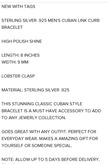 Other CUBAN MEN'S CURB 8MM/8 INCH LINK BRACELET Image 7