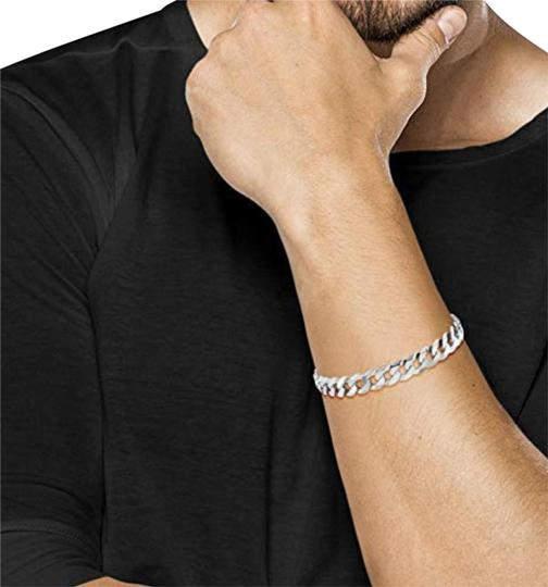 Preload https://img-static.tradesy.com/item/25335541/-sterling-silver-925-cuban-men-s-curb-9mm8-inch-link-bracelet-0-1-540-540.jpg