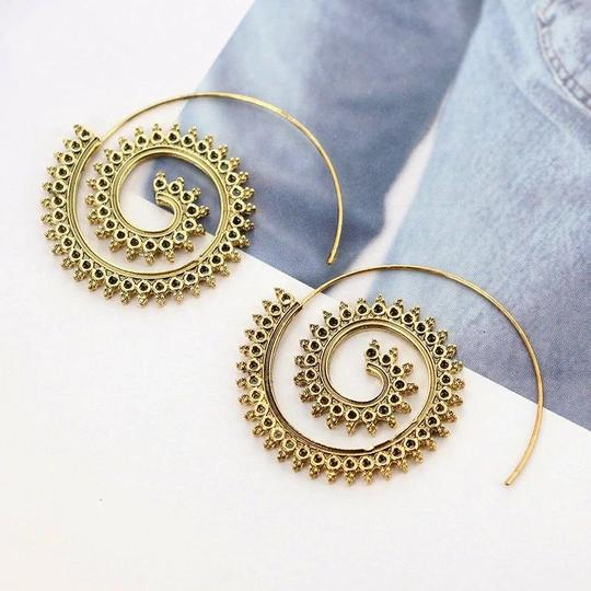 Other Modern Ethnic Swirl Threader Earrings Geometric Jewelry Image 4