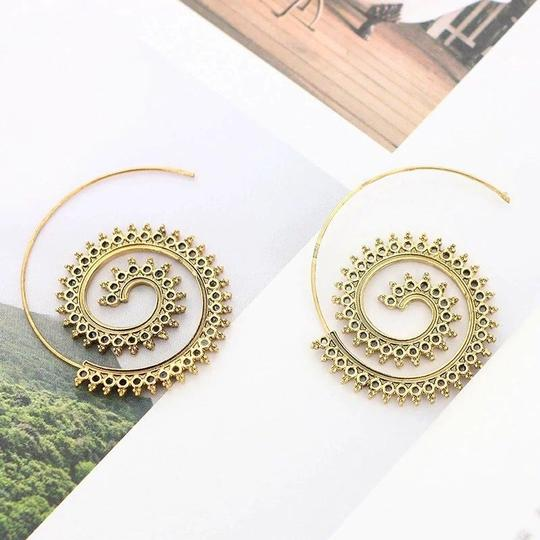 Other Modern Ethnic Swirl Threader Earrings Geometric Jewelry Image 5