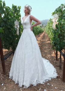 Diamond White Lace Sequin Tulle Style 10713 Modern Wedding Dress Size 14 (L)