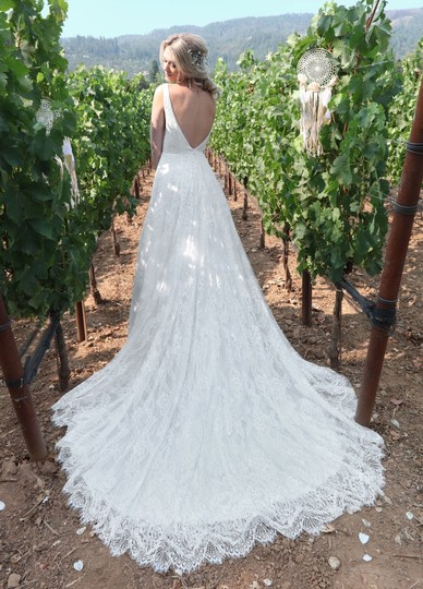 Diamond White Lace Sequin Tulle Style 10713 Modern Wedding Dress Size 14 (L) Image 1