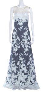 Navy Blue Maxi Dress by Tadashi Shoji Lace Gown Nylon Contrast Polyester