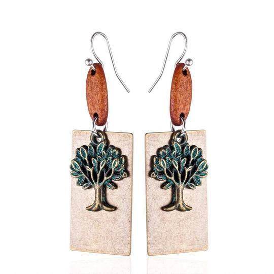 Other Earthy Tree Wood Boho Earrings Patina Green Brown Folksy Image 0