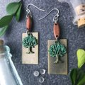 Other Earthy Tree Wood Boho Earrings Patina Green Brown Folksy Image 1