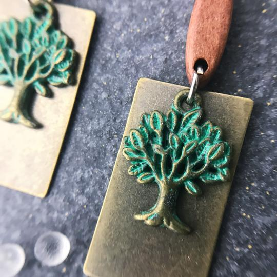 Other Earthy Tree Wood Boho Earrings Patina Green Brown Folksy Image 3
