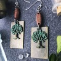 Other Earthy Tree Wood Boho Earrings Patina Green Brown Folksy Image 5