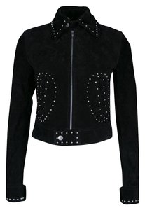 Saint Laurent Calfskin Suede Studded Leather Cotton Motorcycle Jacket
