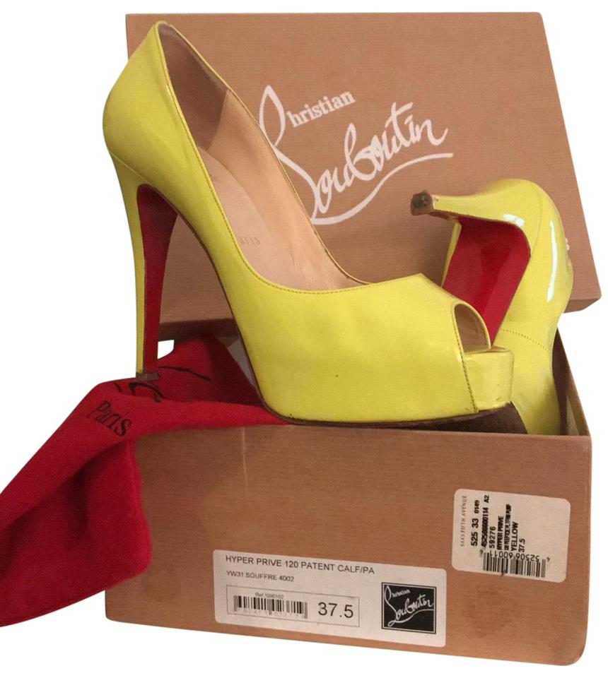 check out c51d2 fc87c Christian Louboutin Yellow Very Prive Patent Leather Peep Toe Pumps Size EU  37.5 (Approx. US 7.5) Regular (M, B) 76% off retail