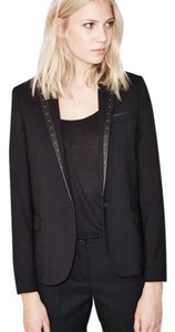 The Kooples Studded Embellished Leather Crepe Black Blazer