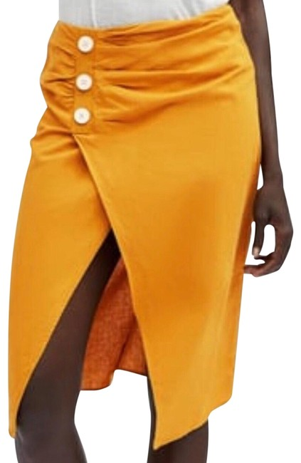 Item - Yellow XS Nwot Ruched Linen Skirt Size 8 (M, 29, 30)