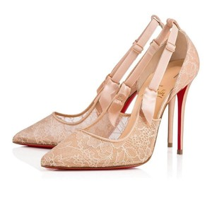 Christian Louboutin Glitter Decoltish Classic Poudre Nude Pumps