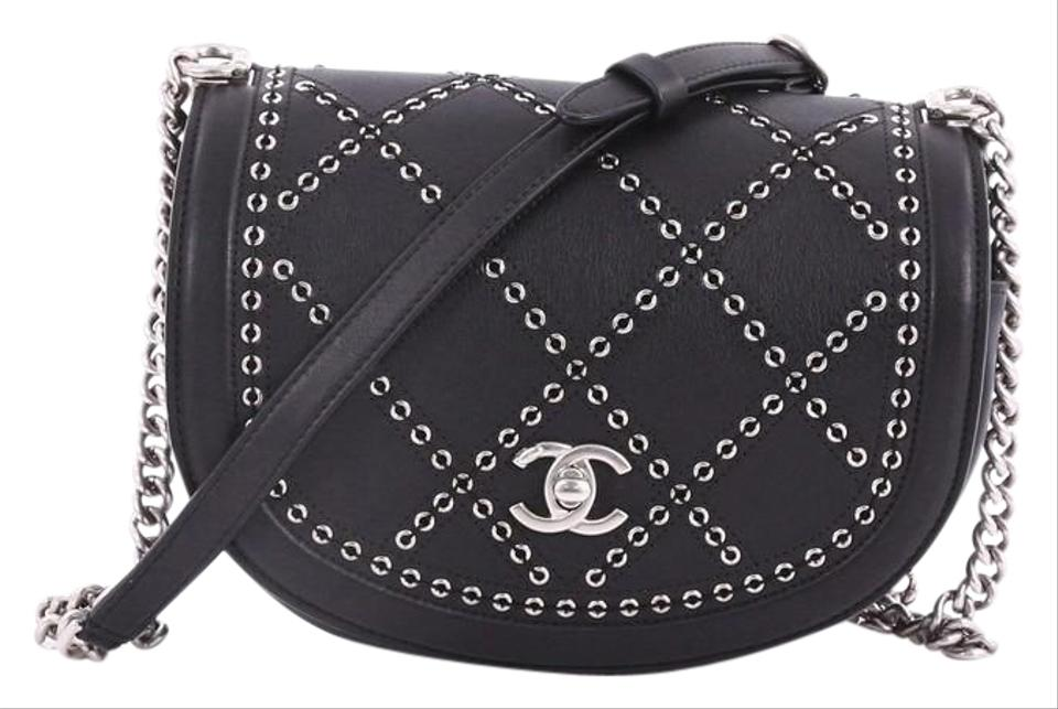 9ce0004442c2 Chanel Classic Flap Coco Eyelets Round Quilted Small Black Calfskin ...