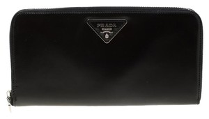 c46bfe8d50b790 Prada Black Spazzolato Leather Zip Around Wallet