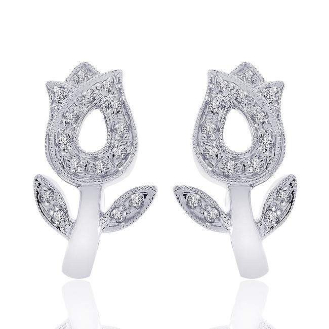 Item - 14k White Gold Huggy 0.25 Carat Round Diamond Tulip Flower Hoop Earrings