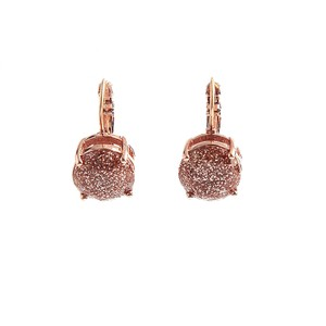 Kate Spade BRAND NEW Kate Spade Glitter Round Leverback Earrings Rose Gold