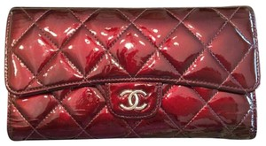 Chanel Purple patent trifold wallet