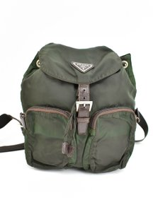Prada Vela Logo Leather Green Backpack