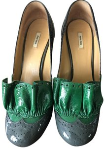 Miu Miu Black, green, gray Platforms