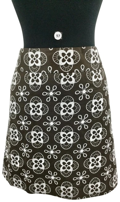 Item - Brown White Skirt Size Petite 8 (M)