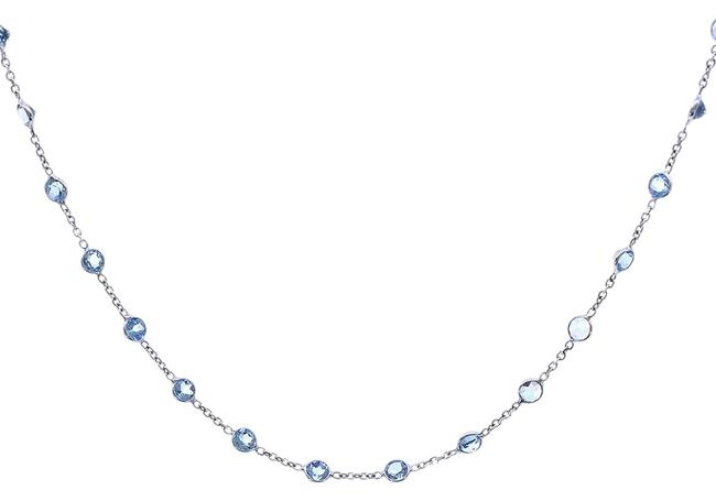 Item - 14k White Gold 8.70 Carat Round Cut Blue Topaz Necklace