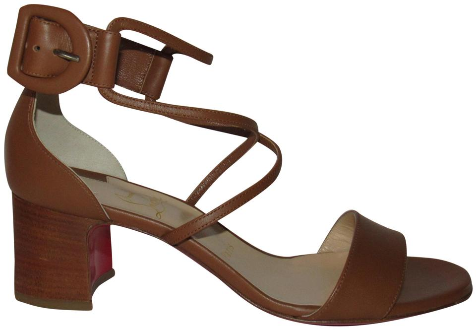 pretty nice 1abd3 c45aa Christian Louboutin Brown Choca 55 Leather Low Heel Sandals Size EU 38  (Approx. US 8) Regular (M, B) 39% off retail