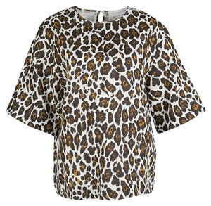 Stella McCartney Animal Print Linen Top Cream