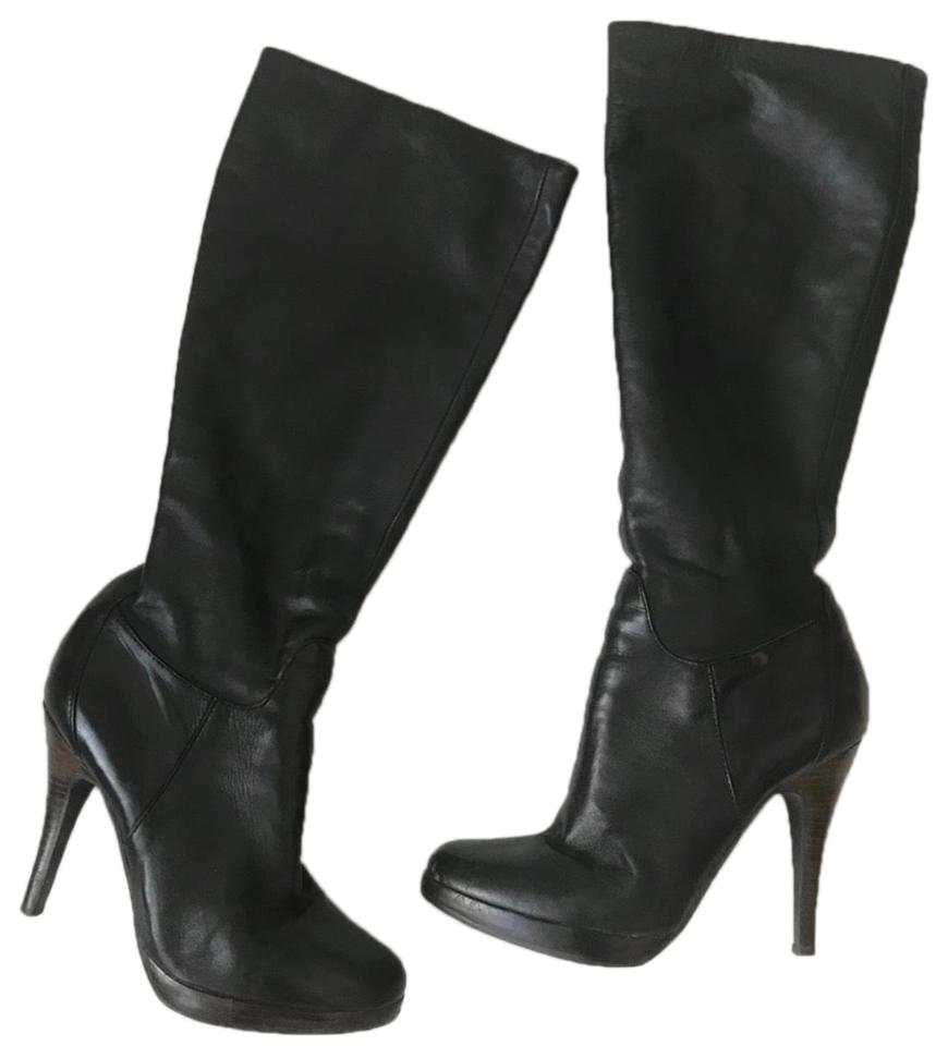 Aldo Black Knee High Heeled Leather Bootsbooties Size Us 75 Regular M B 66 Off Retail