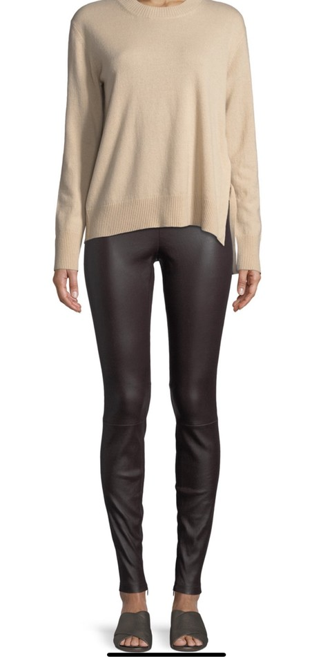 8971d5640c4ca2 Vince Black Leather with Ankle Zip Leggings Size 2 (XS, 26) - Tradesy