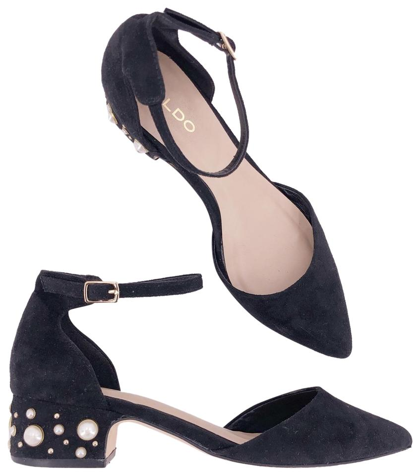 new design cheap for sale 2018 shoes ALDO Black Willwiel Suede Chunky Heels Pearl Embellished Mary Jane Sandals  Size US 6 Regular (M, B)